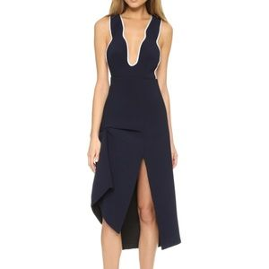 Alice McCall Navy Asymmetric + Backless Midi Dress